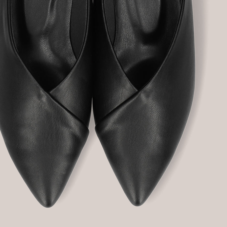 Pointed Toe Babouche Slipper (137) Black