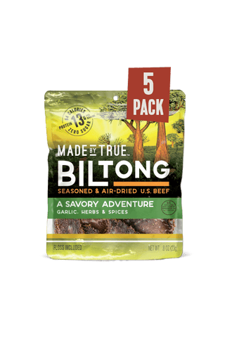 5 Pack Biltong - Garlic & Herb Beef Slices 0.8oz