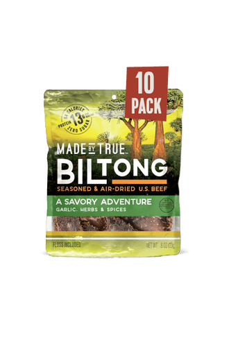 10 Pack Biltong - Garlic & Herb Beef Slices 0.8oz