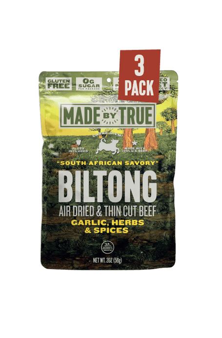 3 Pack Biltong - Garlic & Herb Beef Slices 2oz