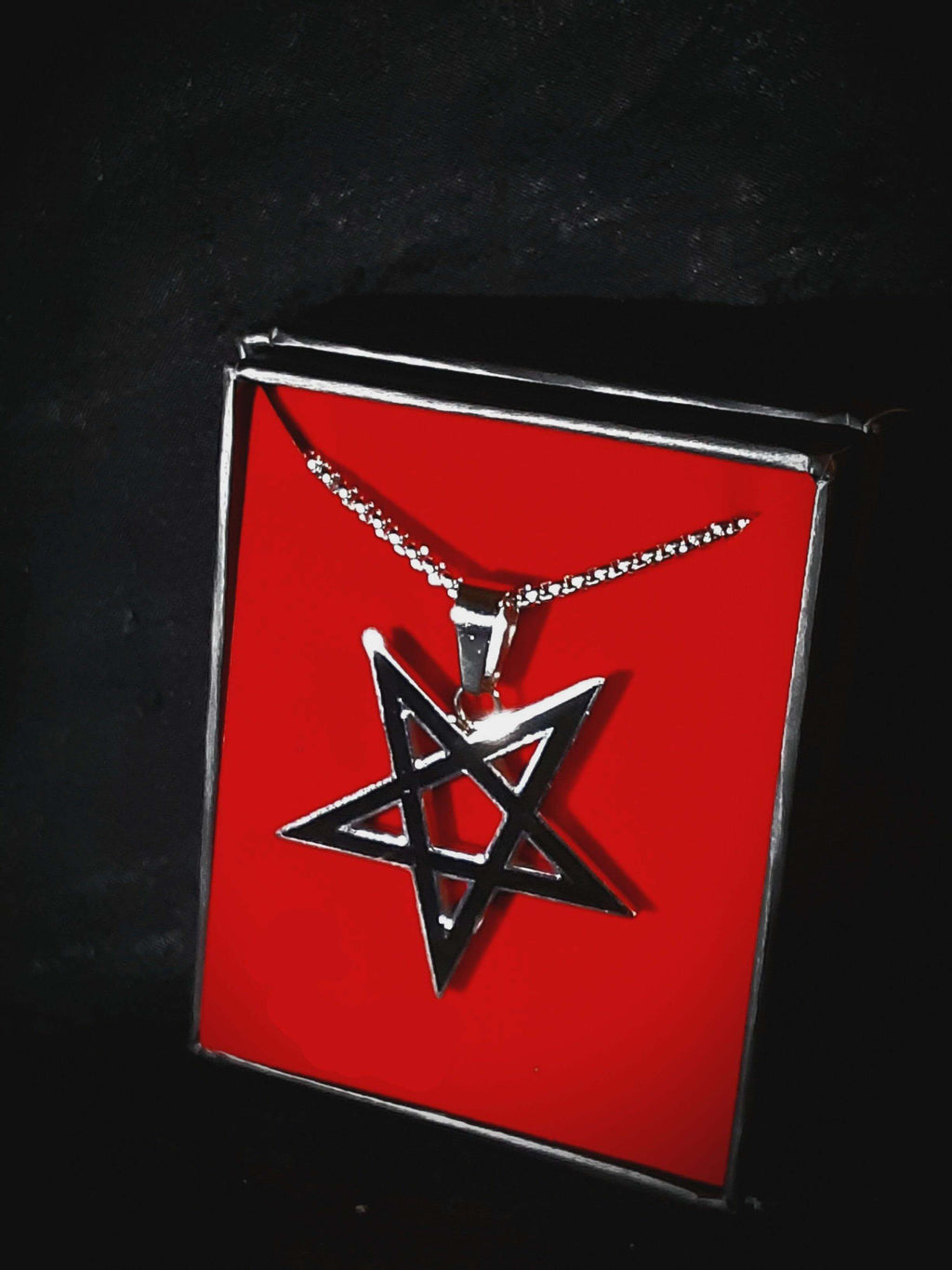 Black Inlay Pentagram Pendant Jewelry