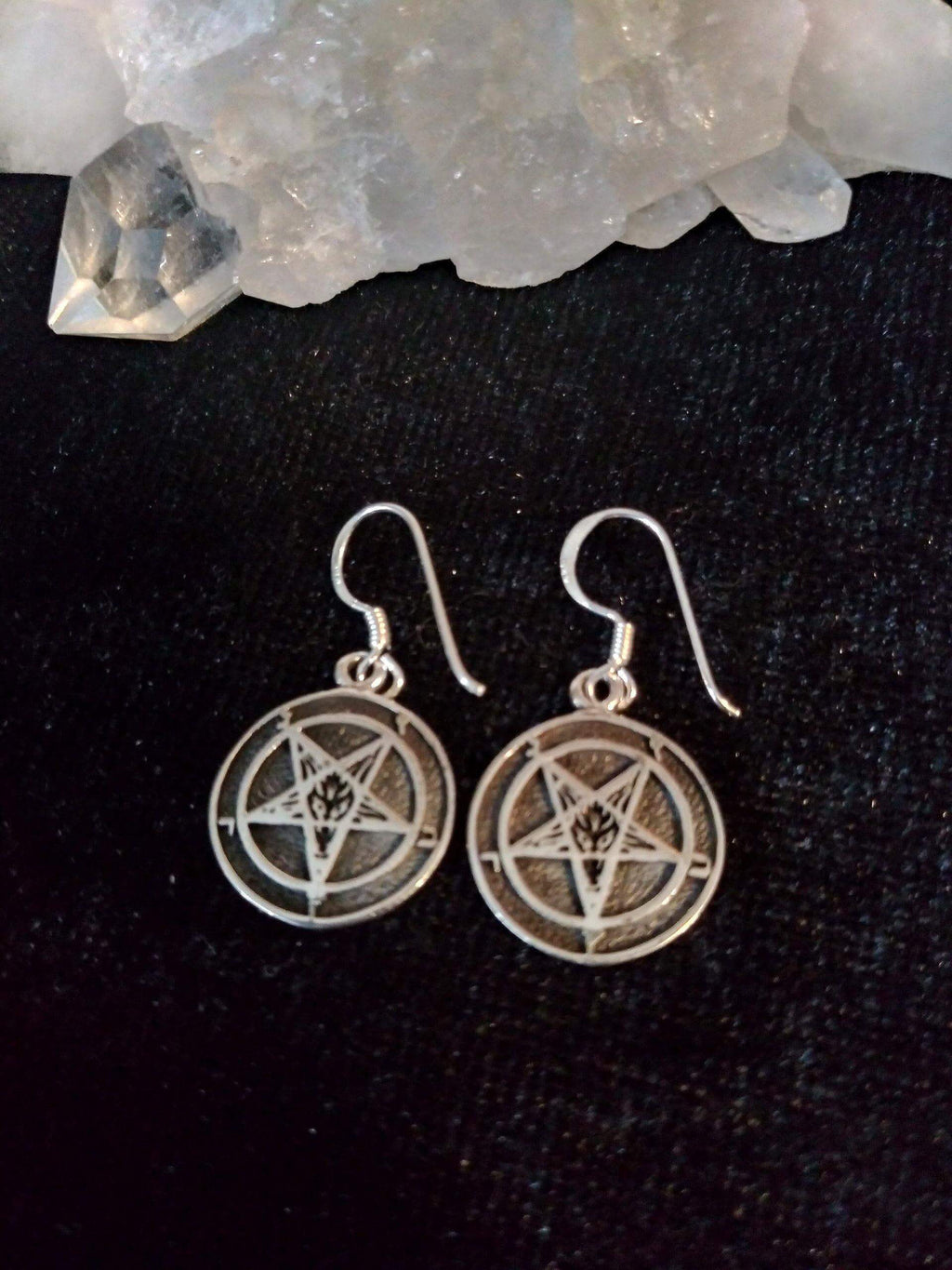 Laveyan Baphomet Coin Earrings Jewelry