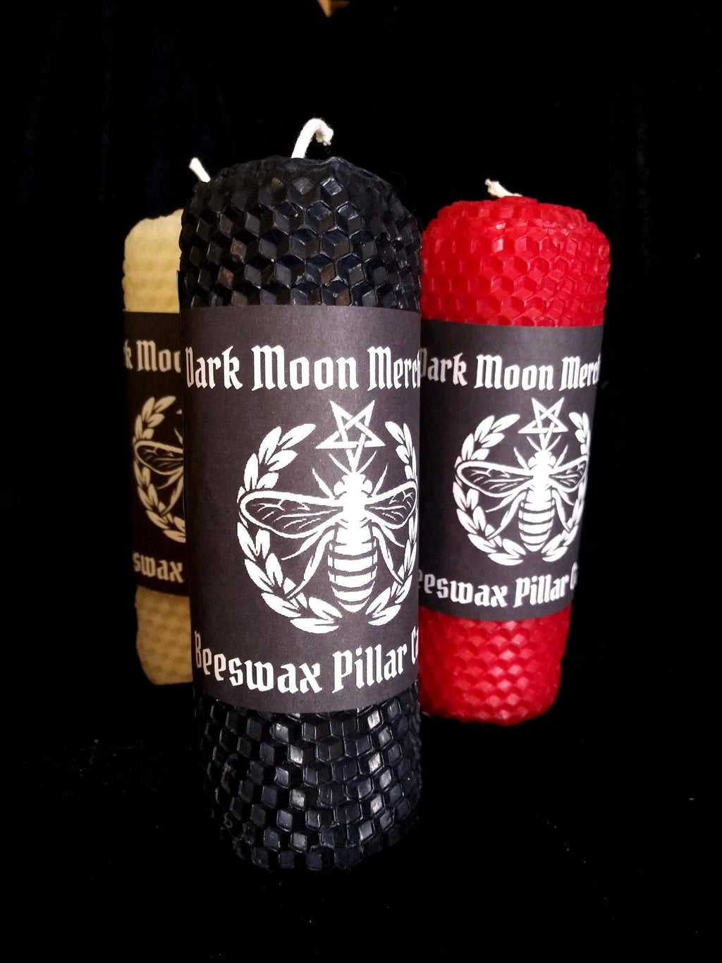 Beeswax Pillar Ritual Candles Set Of All 3 (Black Red + White)