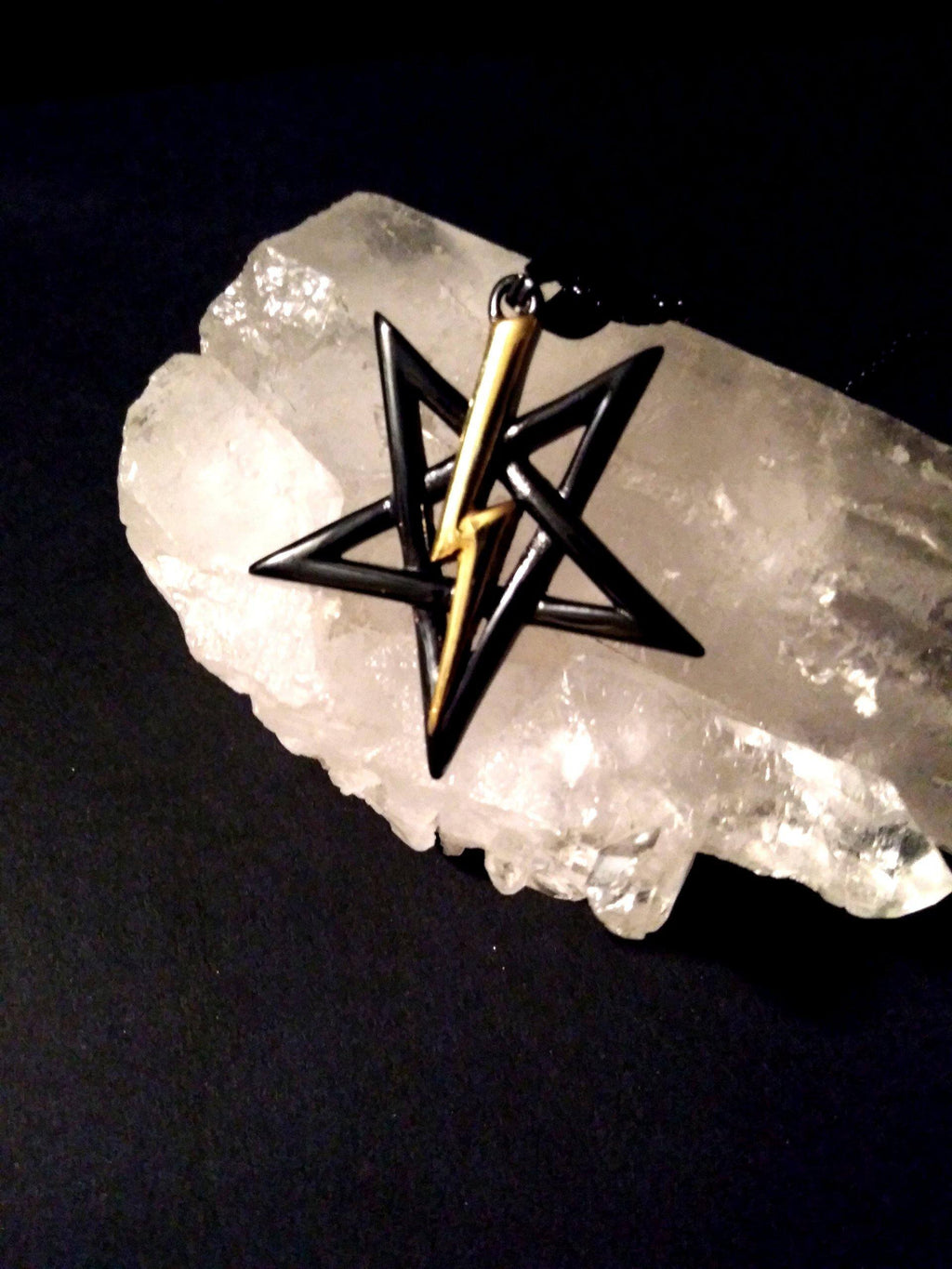 Black & Gold Lavey Pentagram Pendant Jewelry