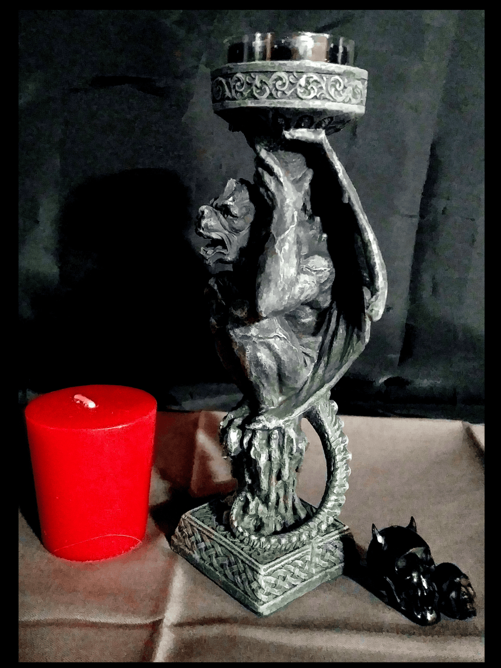 Gargoyle Torch Candle Holder Holders