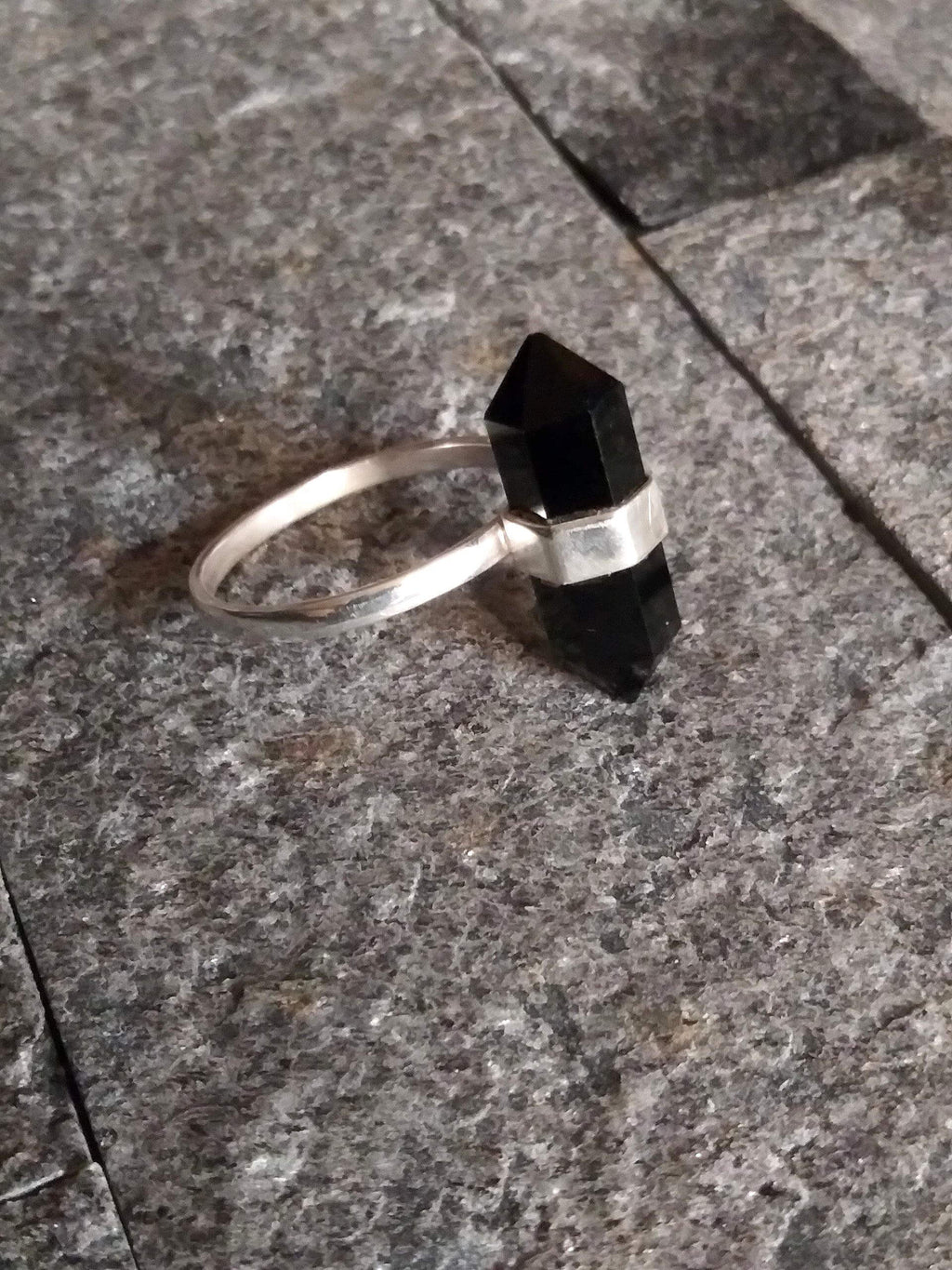 Onyx Double Terminated Sterling Silver Ring 5 Rings