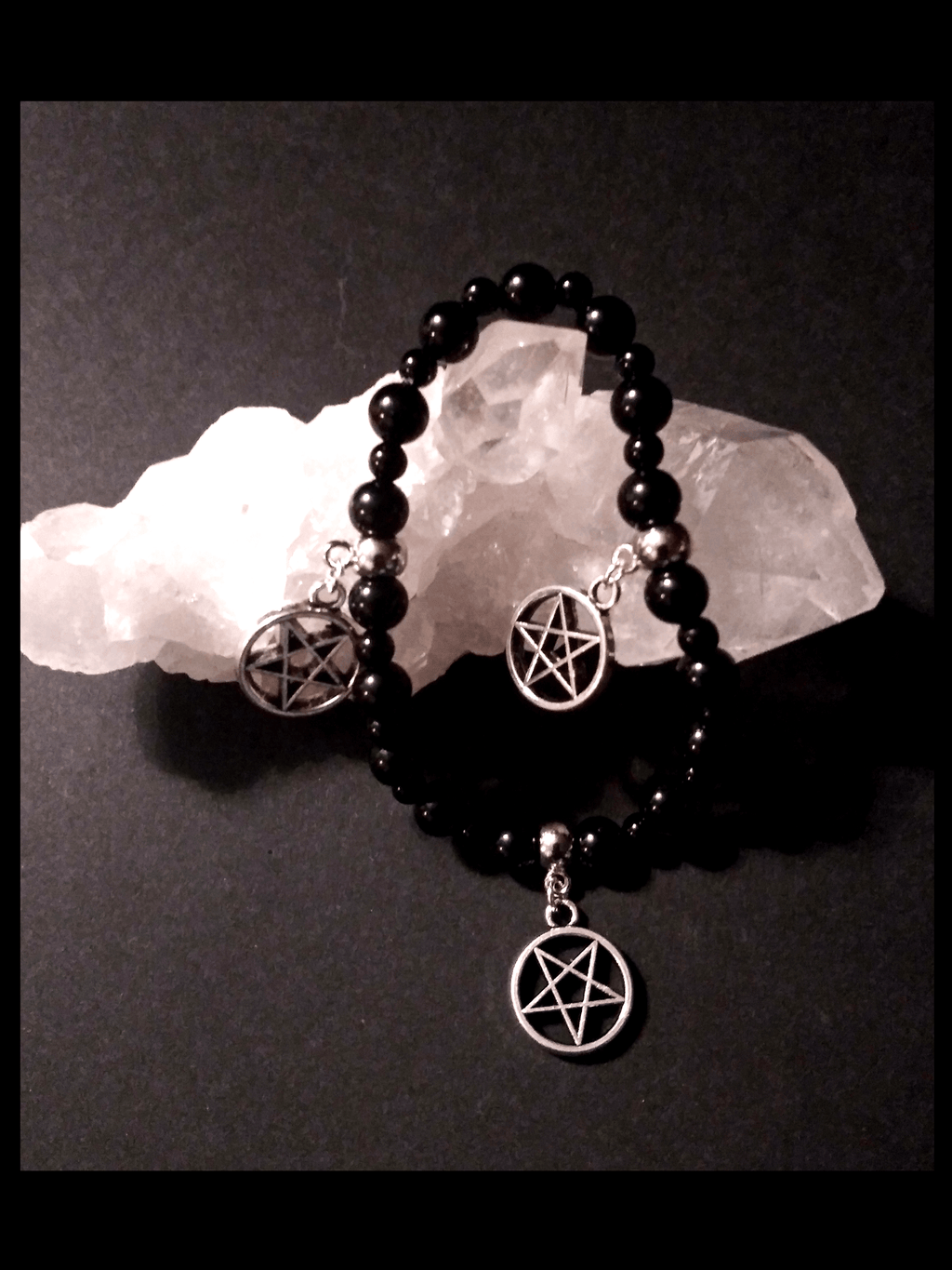 Onyx Gemstone Triple Pentagram Charms Bracelet Jewelry
