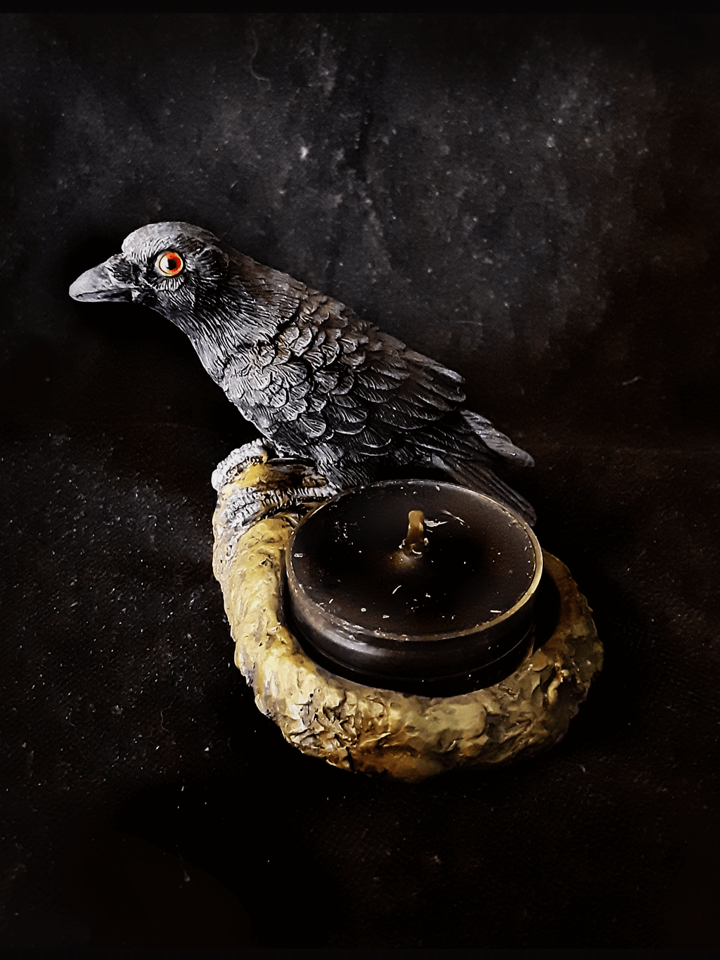 Black Raven Tealight Holders Set Candle