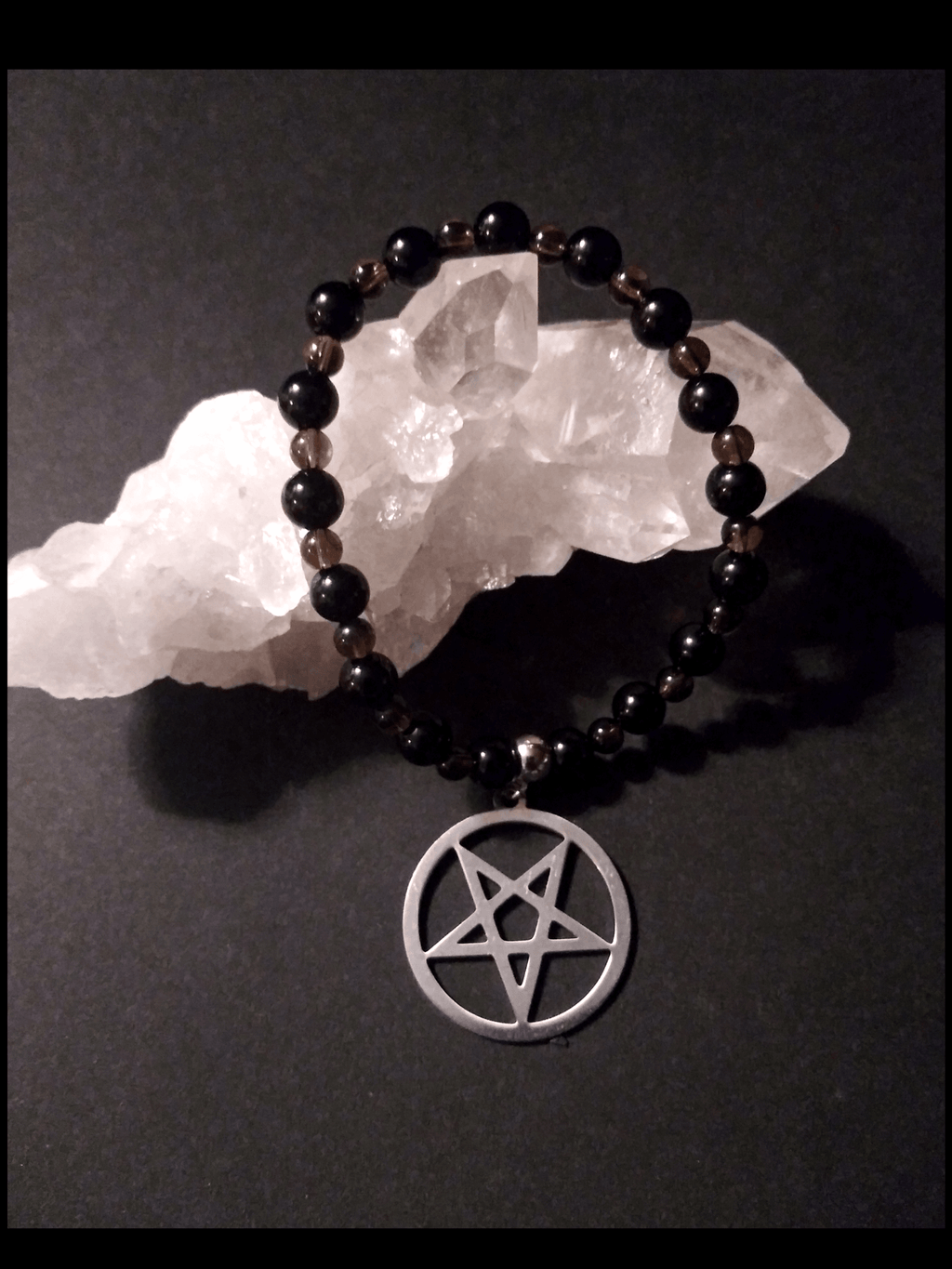 Smoky Quartz & Onyx Gemstone Pentagram Sigil Bracelet Jewelry