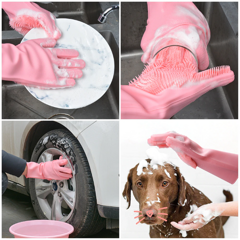 wash dishes car and dog with glove