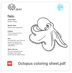 Octopus coloring page PDF