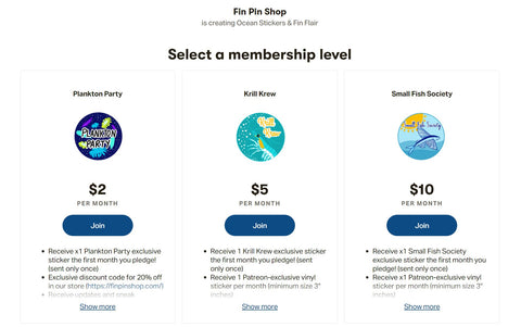 Screenshot of Patreon profile for Fin Pin Shop with preview of rewards tiers.