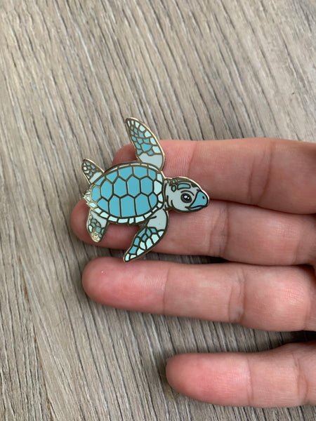 Loggerhead sea turtle hatchling pin