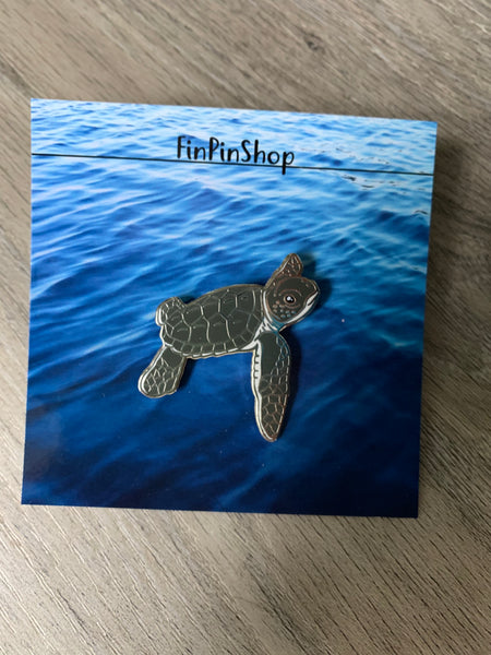 Green sea turtle hatchling pin