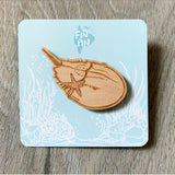 Eco-friendly Wood Horseshoe Crab Pin