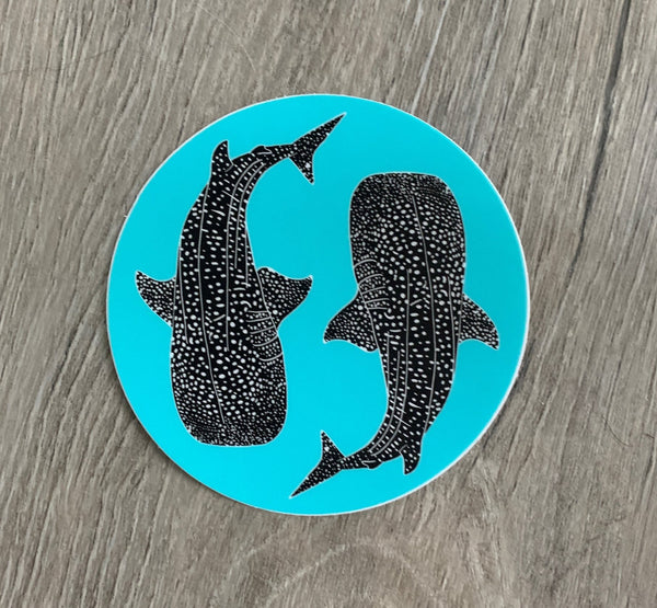 Round whale shark sticker