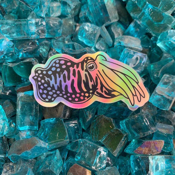 Holographic rainbow cuttlefish sticker