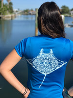 Ladies - Pacific Blue Manta reef mandala tee