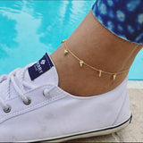 Shark tooth anklet • 18k gold
