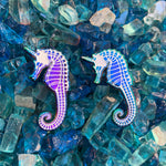 Glow in the dark rainbow unicorn seahorse pin