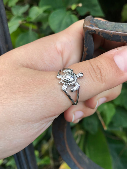 Silver Sea turtle ring
