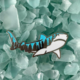 SILVER Sharks Older than Trees enamel pin