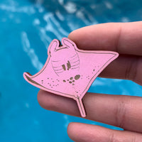 Pink Manta Ray Inspector Clouseau Eco-friendly Wood Pin