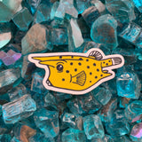 Yellow longhorn cowfish sticker