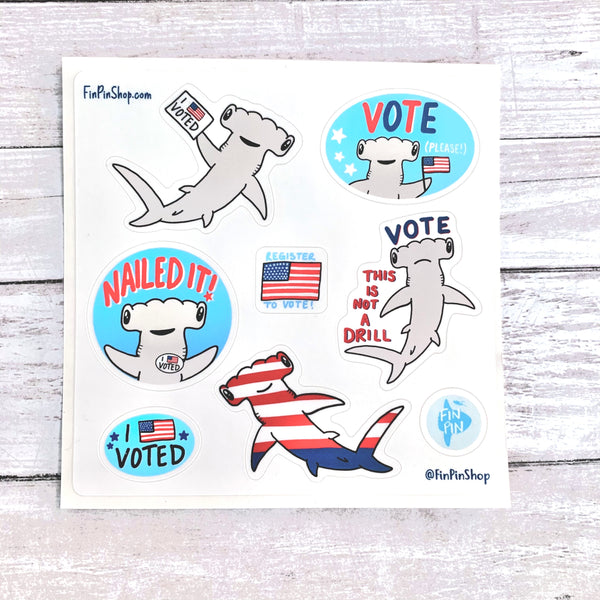 Vote shark sticker sheet