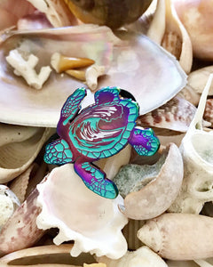 Rainbow Sea Turtle enamel pin