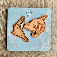 Sawfish & Hammerhead shark eco wood pin set x SHARKTOPIA collab • donation item