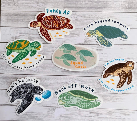 7 Sea Turtles Sticker Pack! • Donation to InWater Research
