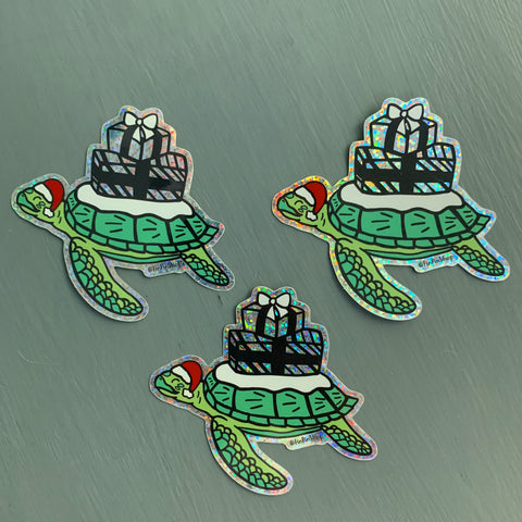 Holiday Sea Turtle Sticker