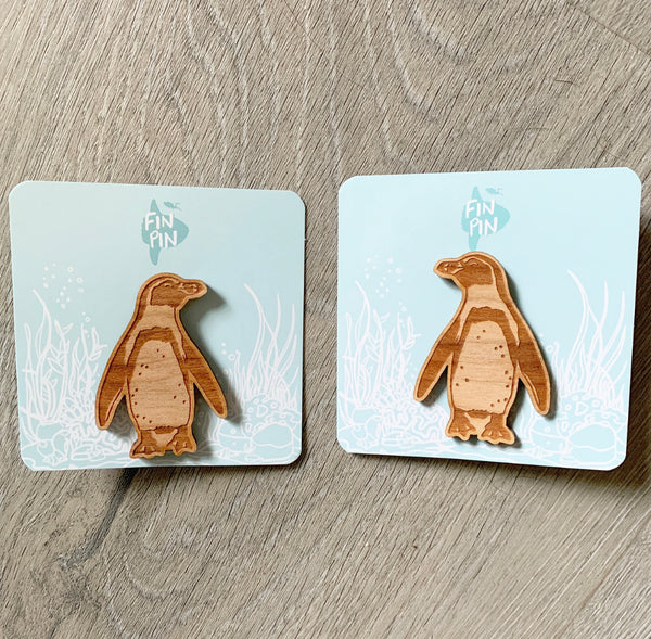 Humboldt Penguin Eco-friendly Wood Pin • donation item