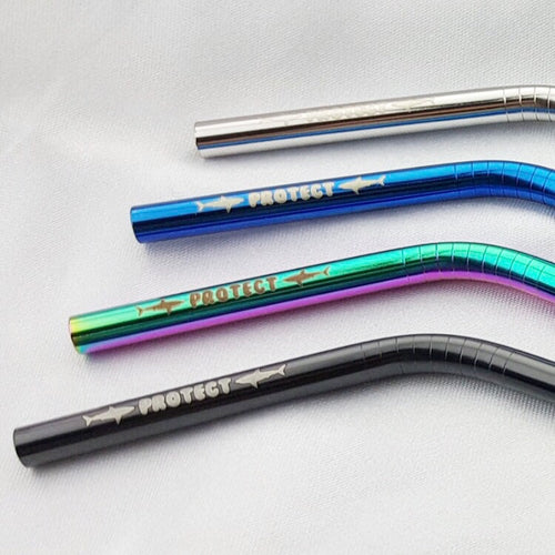 Protect Sharks Bent Reusable Straw Set of 4