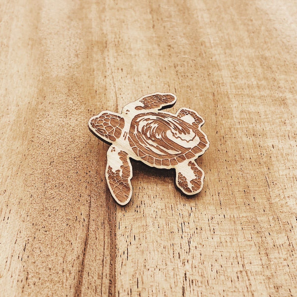 Eco-friendly Wood Sea Turtle Pin
