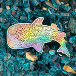 Holographic rainbow whale shark sticker