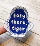 """Easy there, tiger"" Tiger Shark Jaws Sticker"