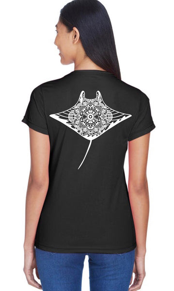 Ladies - Manta reef mandala tee (Black)