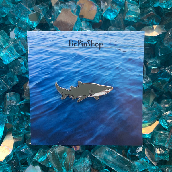 Sand tiger shark enamel pin