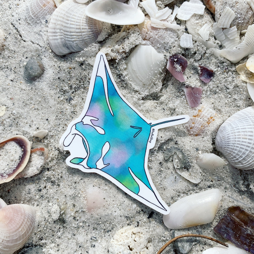 Watercolor manta ray sticker