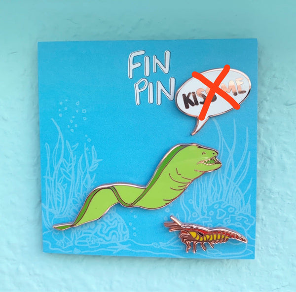 Kiss Me! Moray eel & cleaner shrimp pin set
