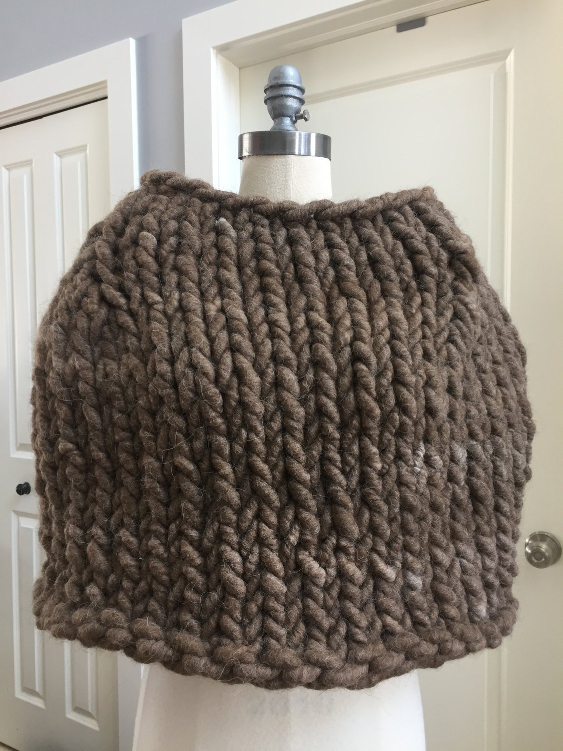 Shrug, Super Chunky Dark Fawn Knit