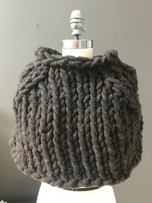Shrug, Super Chunky Rustic Black Knit