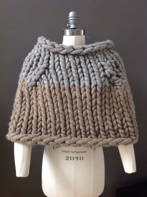 Shrug, Super Chunky Grey and Fawn Knit