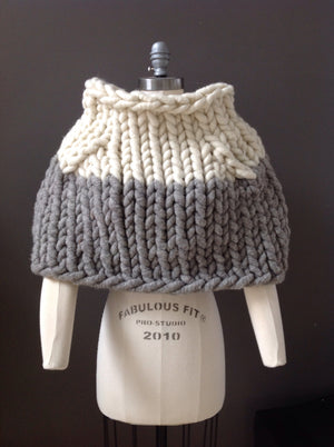 Shrug, Super Chunky White and Grey Knit