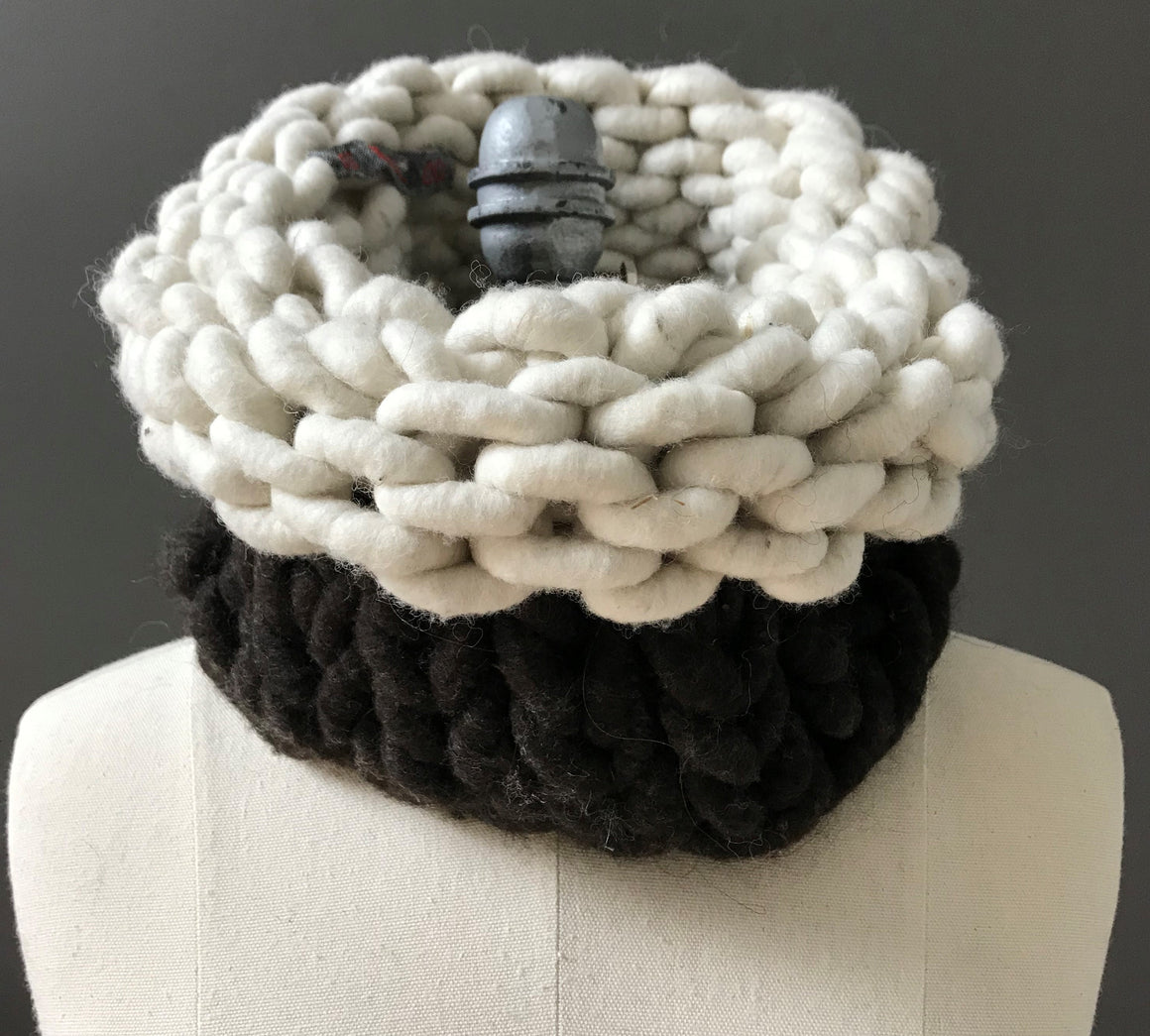 Cowl, Dark Brown and White