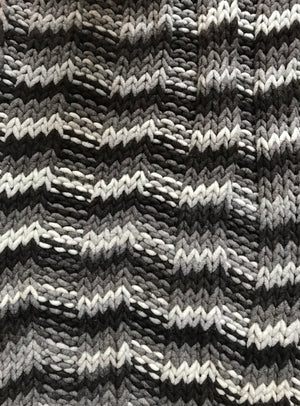 Blanket, Super Chunky Black White Striped Knit