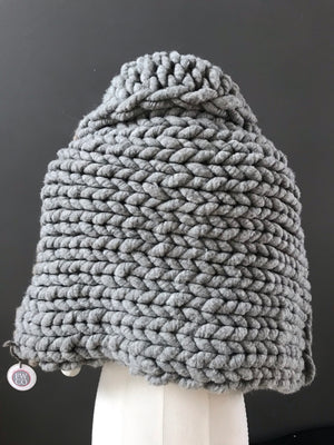 Cape, Super Chunky Grey and Fawn Knit