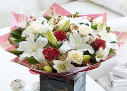 Christmas Flowers - Christmas Rose and Lily Hand-tied